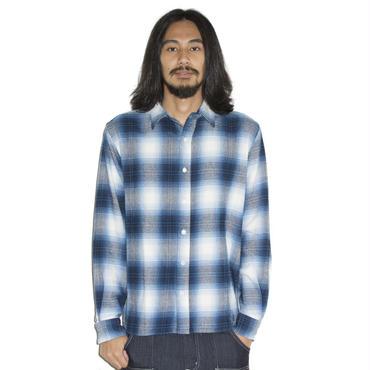 Fine掲載 イーブンフロウ made in Japan ネル ワークシャツ #ブルー