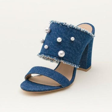 DENIM/PEARL MULE INDIGO BLUE