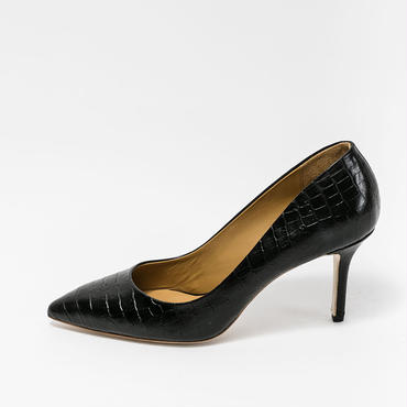 CROCO EMBOSSED PUMPS BLACK