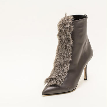 FAUX FUR ANKLE BOOTS GREY