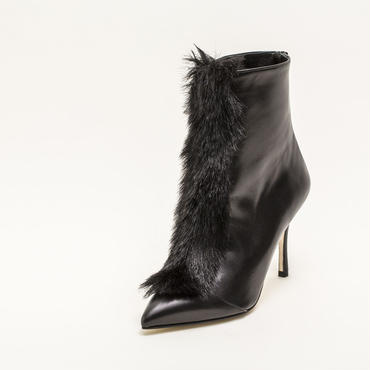 FAUX FUR ANKLE BOOTS BLACK
