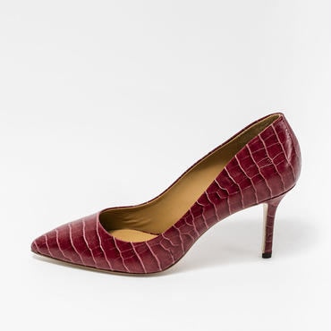 CROCO EMBOSSED PUMPS WINE