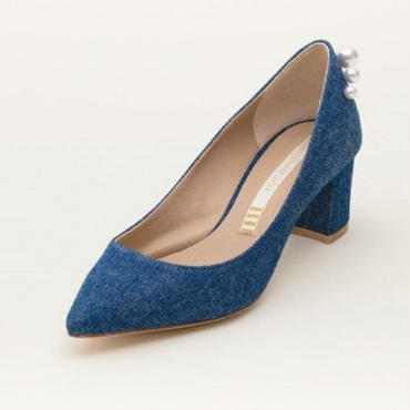 DENIM/PEARL PUMPS INDIGO BLUE