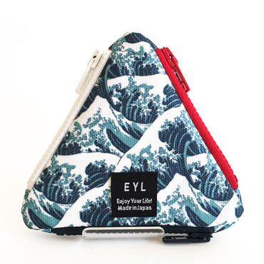 "EYL triangle coin purse ""Hokusai Waves"""