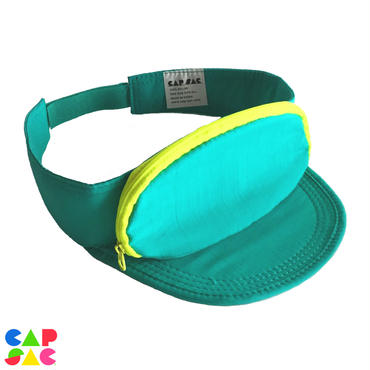CAP-SAC サンバイザー (TEAL / YELLOW ZIPPER)