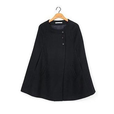 マント風ポケットコート 七分丈 ポンチョ