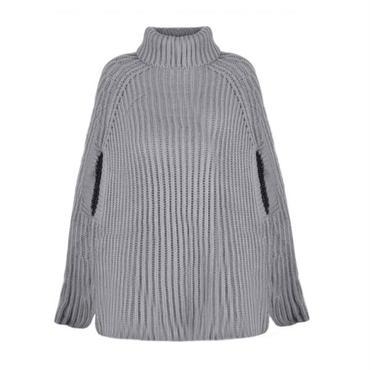 ハイネックマント風ニットポンチョ セーター