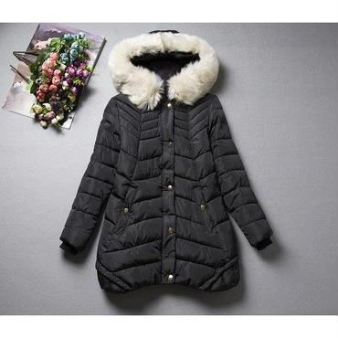 すっきり暖か 防寒 ダウンコート フェイクファー 中綿