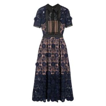 花柄レース シースルー半袖ロングワンピースドレス