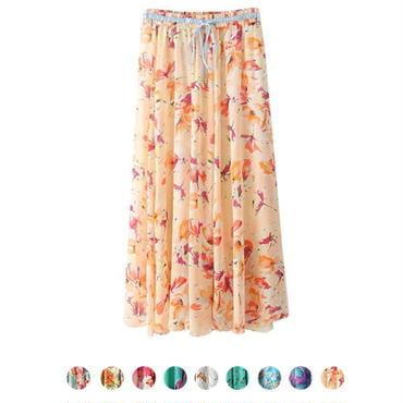 2WAY 花柄シフォンロングスカート マキシ丈 9色