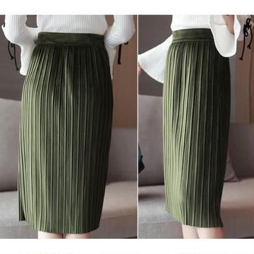 【2色】Iラインで着やせ効果◎膝丈プリーツスカート