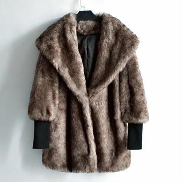 モコフワ フード付きフェイクファージャケット コート