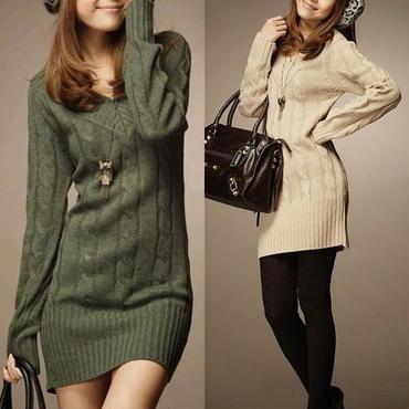 暖かいシンプルスタイル Vネックニットセーター