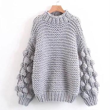 【4色】毛糸玉ボリューム袖 ローゲージニットセーター
