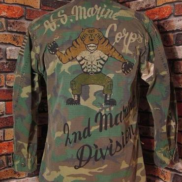 米軍 BDUジャケット Lサイズ38 ハンドペイント 迷彩 虎 ウッドランドカモ柄