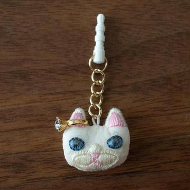 [KEORA KEORA] ネコフェイスイヤホジャック - ホワイト (耳ピンク)
