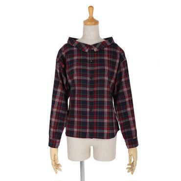 オフショル衿チェックシャツ/F&A