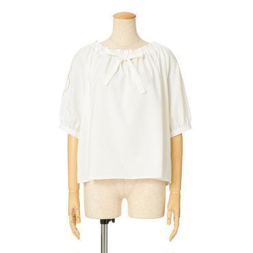 袖カットワーク刺繍ブラウス/F&A