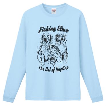 【Fishing Elmoオリジナル「The Art of Angling」6.6オンス  ハイグレード長袖Tシャツ】ライトブルー XLサイズ