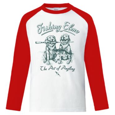 【Fishing Elmoオリジナル「The Art of Angling」5.6オンス  ラグラン長袖Tシャツ】ホワイト レッド Lサイズ