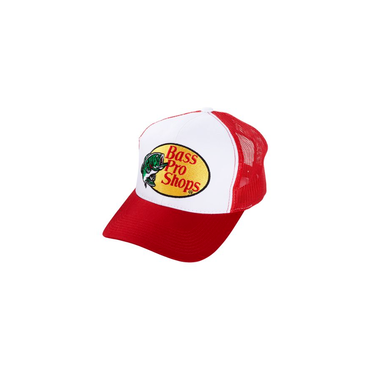 さあ釣りに出かけよう!ど定番!【Bassproshops  バスプロショップ 刺繍ロゴ メッシュキャップ Embroidered Logo Mesh Caps 】カラーRED