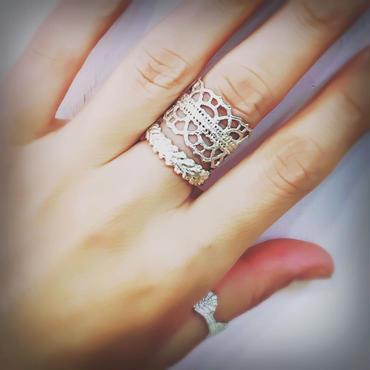 Lace double arabesque ring (silver)---208