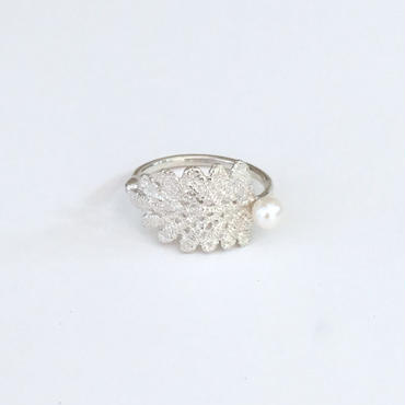 lace leaf ring /pearl (silver)---211