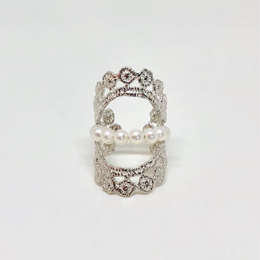 lace double dot ring (silver)---004