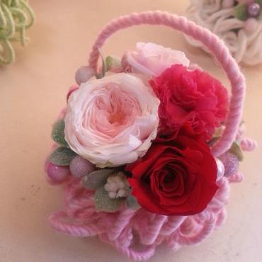 枯れないお花プリザーブドフラワーのアレンジメント「モコモコピンク」