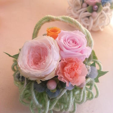 枯れないお花プリザーブドフラワーのアレンジメント「モコモコグリーン」