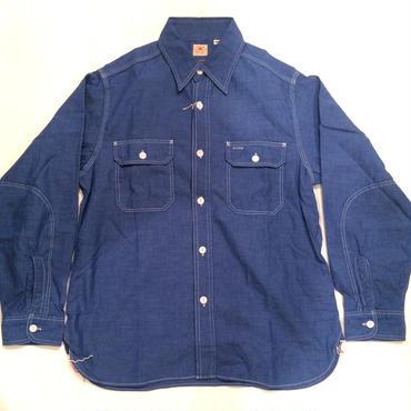 SUGAR CANE シュガーケーン VAT DYE CHAMBRAY WORK SHIRT シャンブレー長袖ワークシャツ『ベタシャン』No.SC25513 ブルー