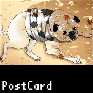 ポストカード【パグ】