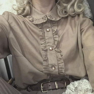 vintage beige frill blouse