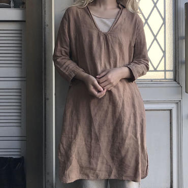 brown linen pullover dress