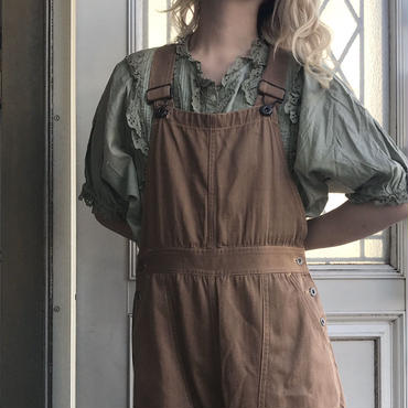 olive non-collar frill blouse