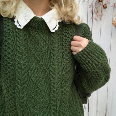 vintage  green alan knit