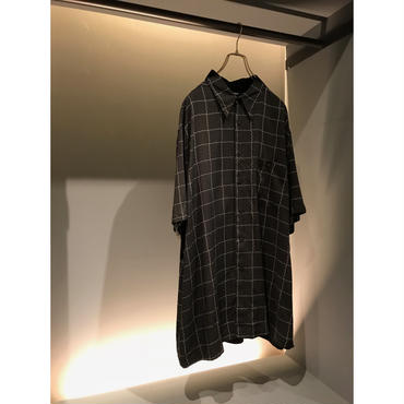 90s S/S rayon plaid shirt ブラック 表記XL