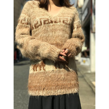 vintage mohair v-neck knit sweater ベージュ
