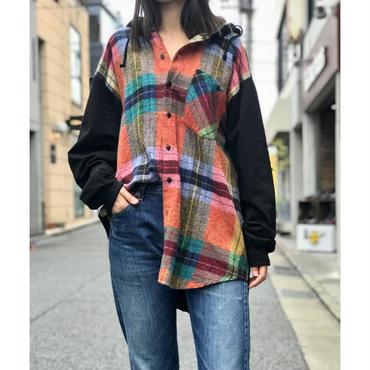 90s L/S cotton plaid shirt hoodie ブラック インド製 表記XXL