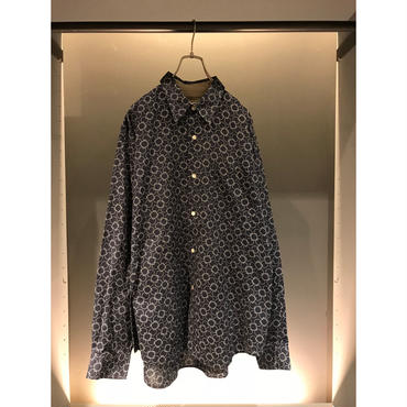"""Calvin Klein"" L/S cotton 総柄shirt ネイビー 表記XL"