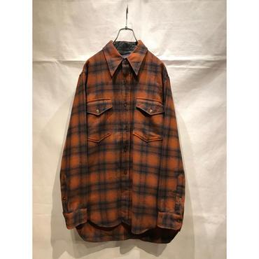 """PENDLETON"" wool shadow plaid shirt ブラウン USA製"