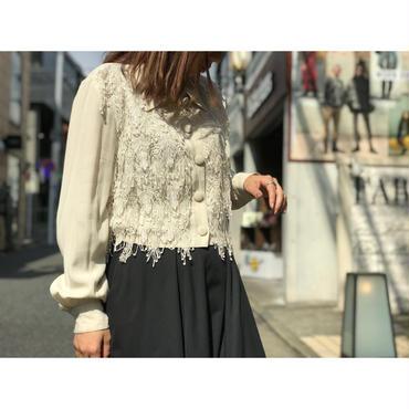 80s design rayon blouse 生成り USA製 表記S