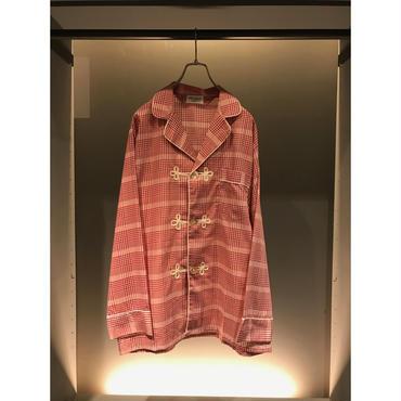 70s pajama shirt レッドチェック 表記C DEAD STOCK