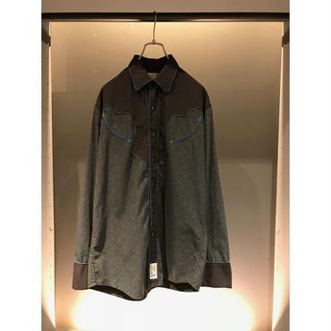 90s L/S cotton blend western shirt ブラック×ブルー 表記M