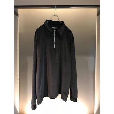 90s half zip velour pullover ブラック USA製 表記XL