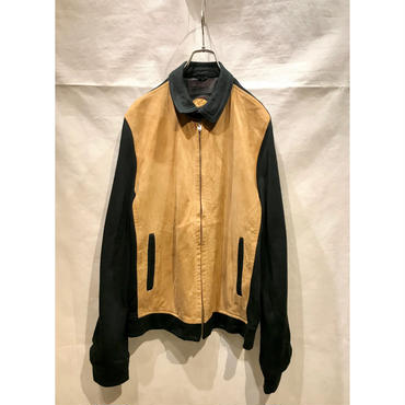 50s leather×wool zip up jacket キャメル×ブラック カナダ製