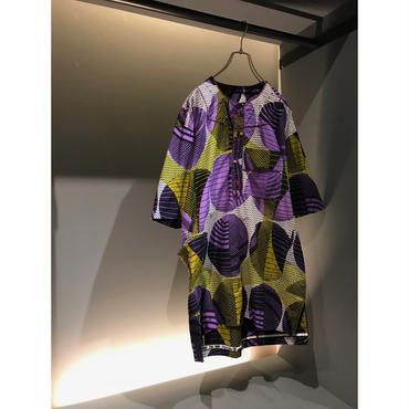 90s S/S cotton pullover パープル 総柄
