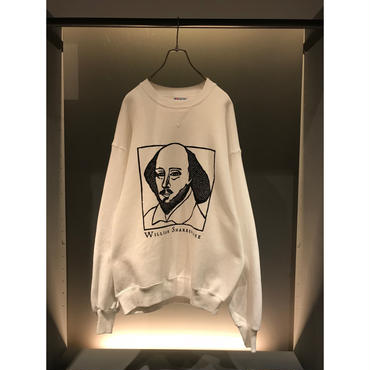 "90s ""william shakespeare"" sweat shirt ホワイト USA製 DEADSTOCK 表記XL"