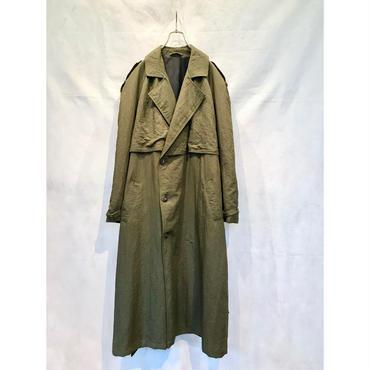 """C,D"" nylon trench coat カーキ カナダ製 表記40"