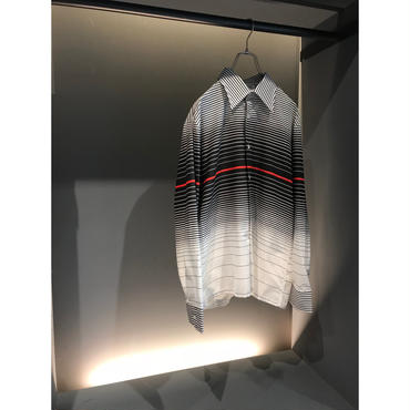 90s L/S poly blend border shirt モノトーン 表記L